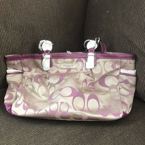 Coach purse - beige with purple accents